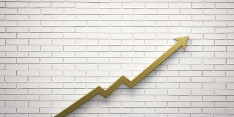 Gold Graph Arrow of Improvement Wall. 3D Render Illustration.