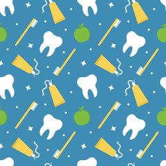 Seamless pattern background for health and dental care with tooth, toothpaste, toothbrush and fresh apples.