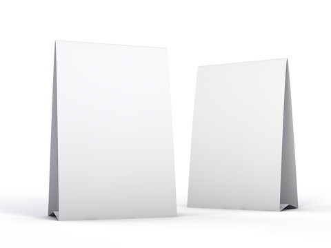 Stand for booklets with white sheets of paper. Mockup. 3D