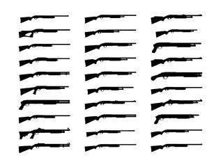 Shotguns silhouette set. Vector illustration isolated on white background. EPS10.