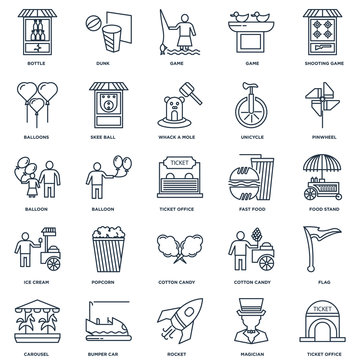 Set Of 25 outline icons such as Ticket office, Magician, Rocket,