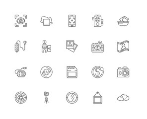 Simple Set of 20 Vector Line Icon. Contains such Icons as Clouds