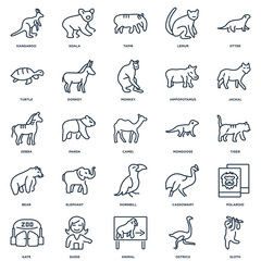 Set Of 25 outline icons such as Sloth, Ostrich, Animal, Guide, G