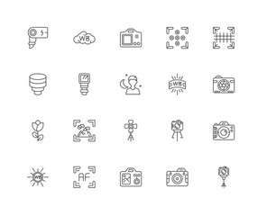 Simple Set of 20 Vector Line Icon. Contains such Icons as Camera