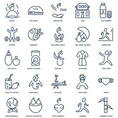 Set Of 25 outline icons such as Bamboo Sticks, Jumping, Love You
