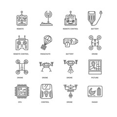 Simple Set of 16 Vector Line Icon. Contains such Icons as radar,