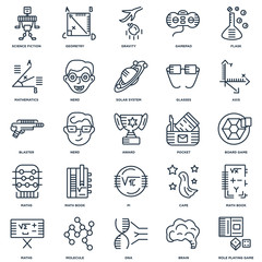 Set Of 25 outline icons such as Role playing game, Brain, Dna, M