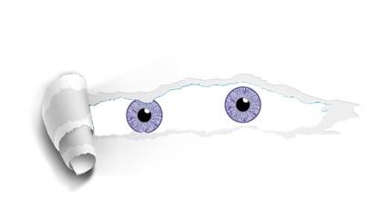 Iris von zwei Augen blicken durch aufgerissenes Papier