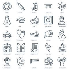 Set Of 25 outline icons such as Defibrillator, Police tools, Bar