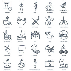 Set Of 25 outline icons such as Beauty, Massage Oil, Treatment S