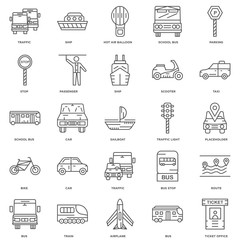 25 linear icons related to Ticket office, Bus, Airplane, Train,
