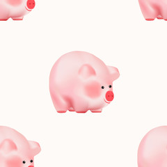 Seamless pattern with Cute adorable pink baby piggy. New Year Chinese Symbol isolated on white background. Vector Illustration.