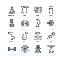 Set Of 16 Universal Editable Icons. Includes Elements Such As Ca