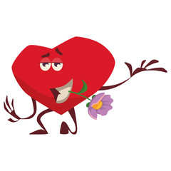 a gallant heart holds a lilac flower in its teeth, stands on one knee, shows love, cares beautifully