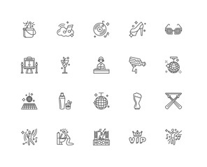 Simple Set of 20 Vector Line Icon. Contains such Icons as Dancin