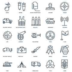 Set Of 25 outline icons such as Rank, Toxic, Ambulance, Tent, Ta