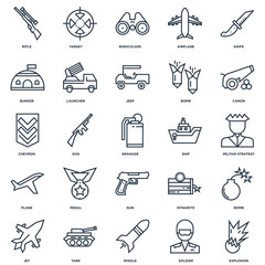 Set Of 25 outline icons such as Explosion, Soldier, Missile, Tan