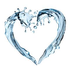 3d render, abstract water design element, illustration, heart shape splashing, blue liquid splash isolated on white background