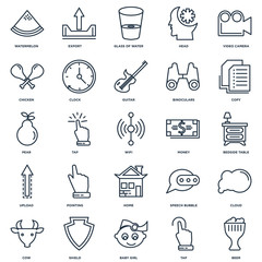 Set Of 25 outline icons such as Beer, Tap, Baby girl, Shield, Co
