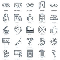 Set Of 25 outline icons such as Axe, Column, Calculator, Diploma