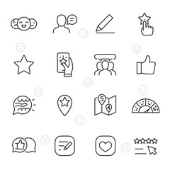 Feedback, icon set. Testimonials and evaluation social network user, linear icons. Line with editable stroke
