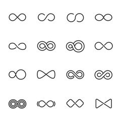 Infinity, icon set. Different shapes, linear icons. Line with editable stroke
