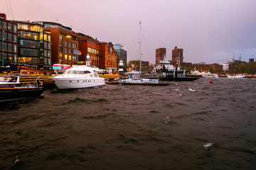 Aker bridge and harbour in Oslo, Norway with various boats and yachts