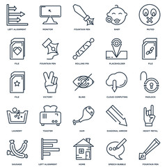 Set Of 25 outline icons such as Fountain pen, Speech bubble, Hom