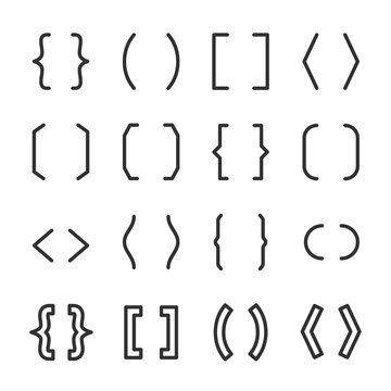 Brackets set. typography symbols of various shapes. Line with editable stroke