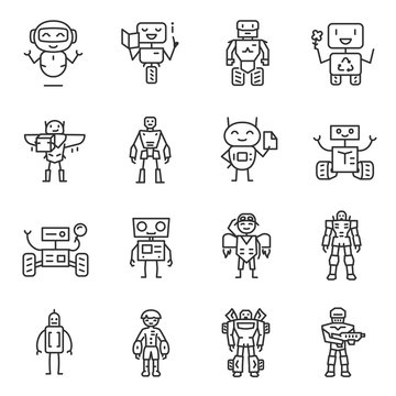 Robots, icon set. robot characters, machines of various specialties and different purposes, linear icons. Line with editable stroke