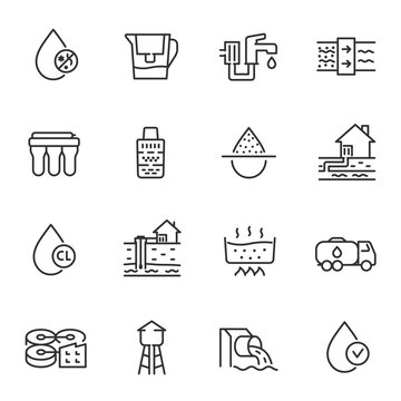 Water purification, icon set. Filtration, disinfection and storage, linear icons. Line with editable stroke