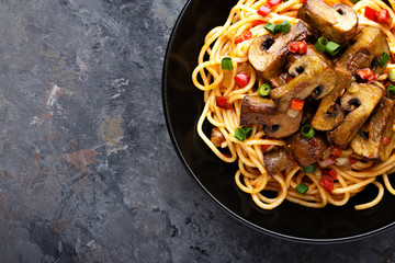 Vegetarian spaghetti bolognese with mushrooms and pepper.