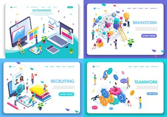 Set of web page design templates for business, brainstorm, teamwork, recruiting, outsourcing. Vector illustration concepts for website and mobile