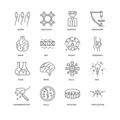 16 linear icons related to Fertilization, Dna, Sperm, undefined,