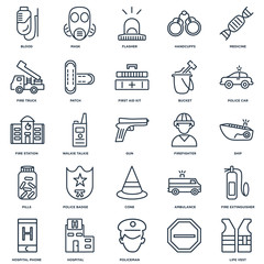 Set Of 25 outline icons such as Life vest, , Policeman, Hospital