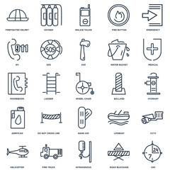 Set Of 25 outline icons such as 24h, Road blockade, Intravenous,