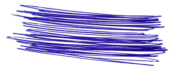 a stroke of a blue pen. hand drawn on paper, isolated element on white background. pen strokess
