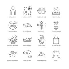 16 linear icons related to Hijab, Sujud Posture, Muslim Man, und
