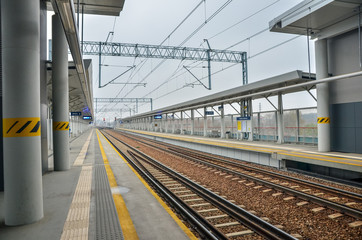 Empty railway station for intercity trains.