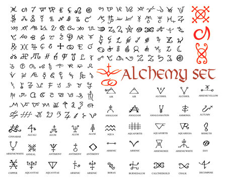 Large set of alchemical symbols isolated on white. Hand drawn elements for design.