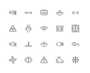 Simple Set of 20 Vector Line Icon. Contains such Icons as Air Co