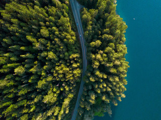 Aerial view looking down at a road running though the green forest along the coastline of a bright blue lake