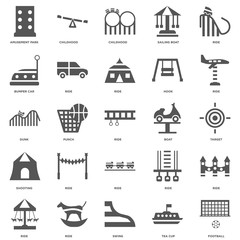 25 linear icons related to Football, Tea cup, Swing, Ride, Boat,