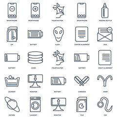 Set Of 25 outline icons such as Leo, File, Monitor, Laundry, Sat