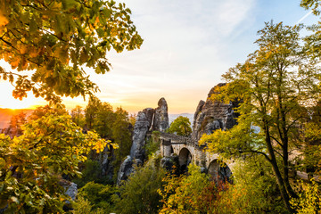 Sächsische Schweiz, Basteibrücke zum Sonnenaufgang