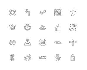 20 linear icons related to Islamic Wudu, Hamsa Hand, Sufi Mystic