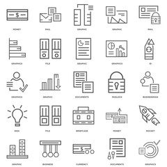 25 linear icons related to Graphics, Documents, Currency, Busine