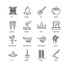 Set Of 16 Universal Editable Icons. Includes Elements Such As Si