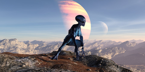 3d illustration of an female extraterrestrial looking at an alien world while crouching on a mountain top with large and small planets in the background.