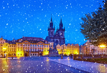 Acrylic Prints Prague Prague, Czech Republic Central Old Town square in Night view